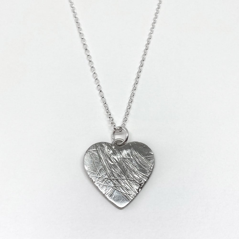 Silver Heart Hair Imprint Memorial Pendant