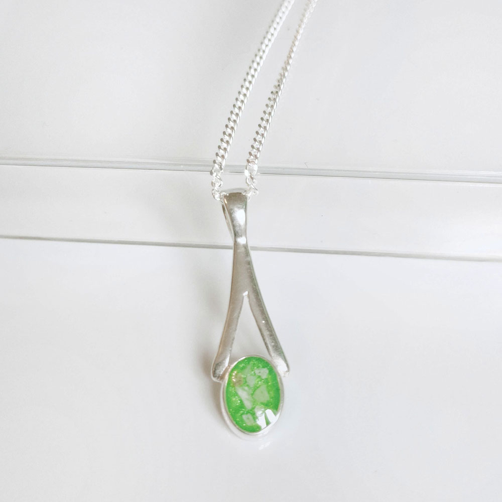 Oval Memorial Ashes Pendant, Cremation Ashes Necklace