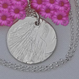 Silver Circular Hair Imprint Memorial Pendant