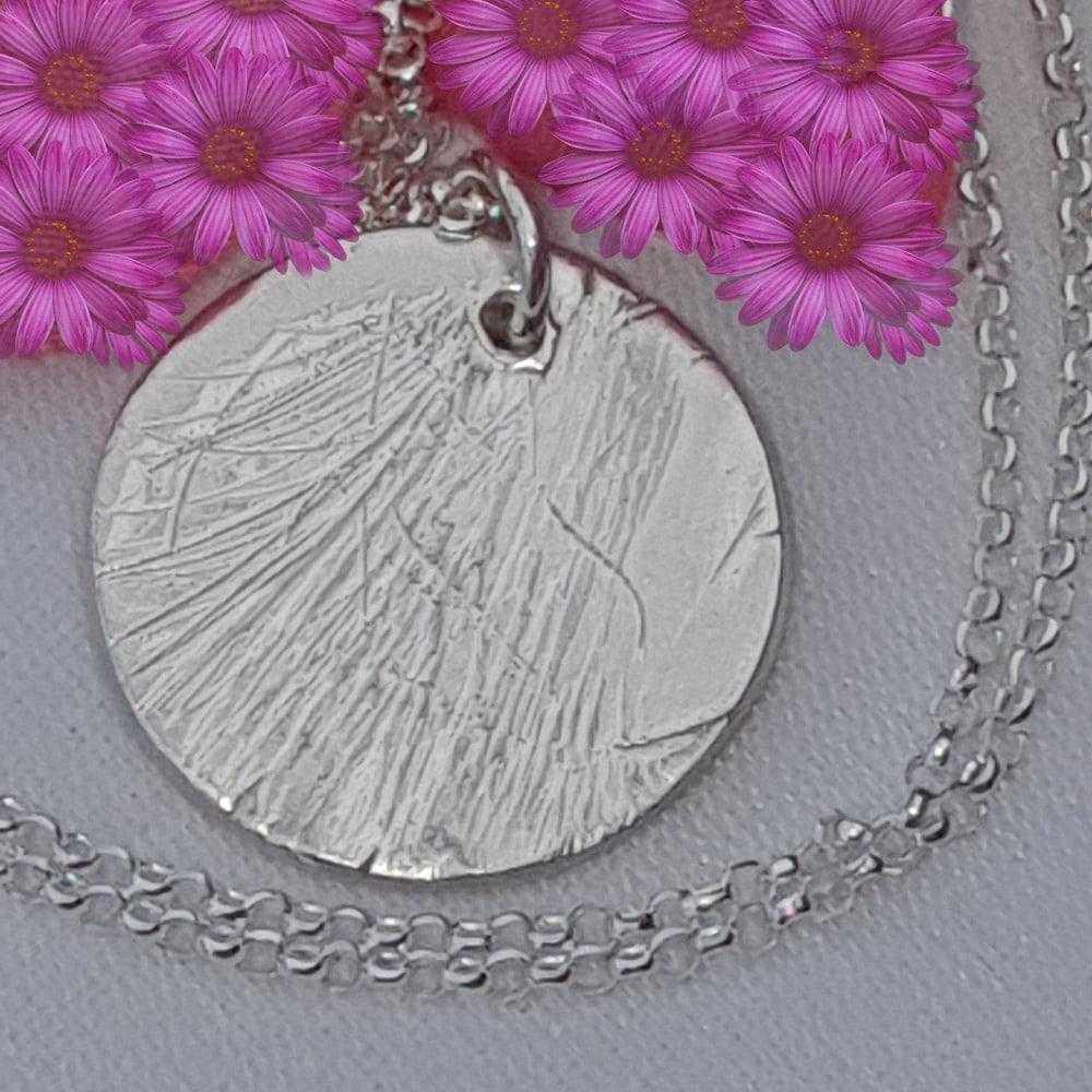 Silver Circular Hair Imprint Memorial Pendant