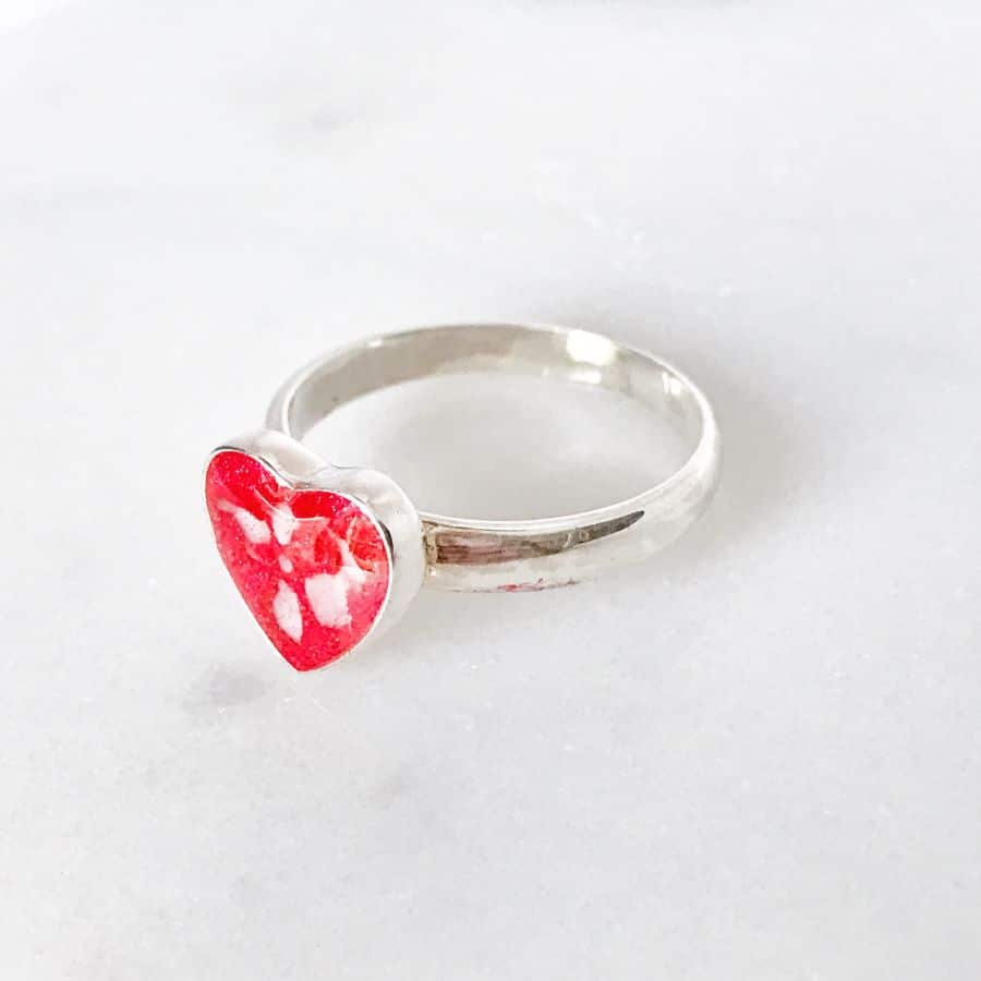 Love Heart Memorial Ashes Ring, Cremation Ring