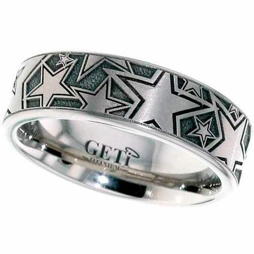 Titanium Ring with Stars Design, Flat Profile