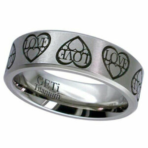 Titanium Ring with a Love Heart Design, Flat Profile