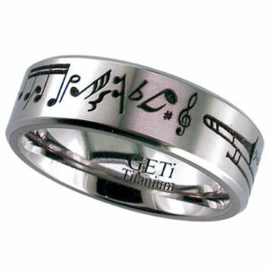Titanium Ring with a Music Theme Design, Flat Profile