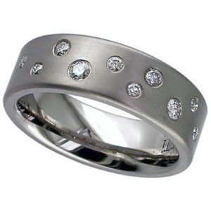 Flat Profile Titanium Ring with 10 Round Diamonds Random Scatter
