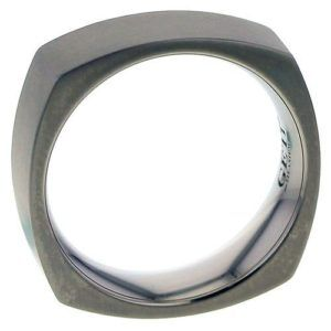 Square flat profile Titanium ring.