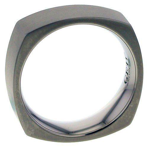 Square flat profile Titanium ring.