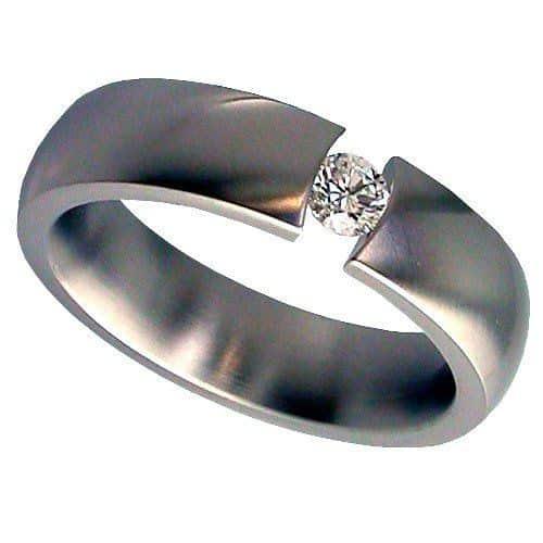 Shallow Dome Titanium Ring with 1/4 Carat Brilliant Cut Diamond