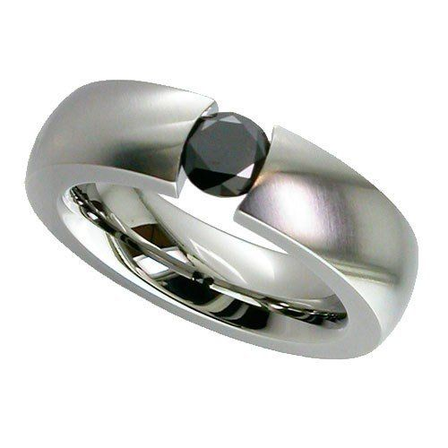 Shallow Dome Titanium Ring with 1/2 Carat Brilliant Cut Diamond