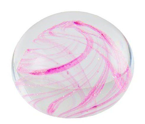 Clear Crystal Paperweight with Swirled Colour Incorporating Ashes