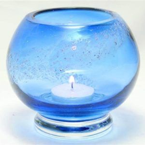 Ashes in Crystal Glass Tealight Candle Holder, Solid Colour, Spiral Ash