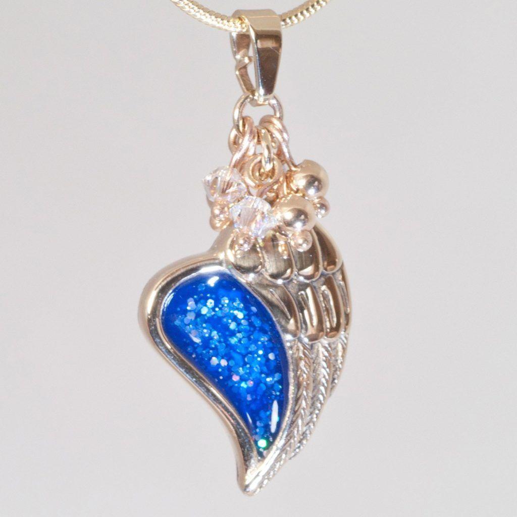Crystallure Angel Wing Pendant, 45cm snake chain