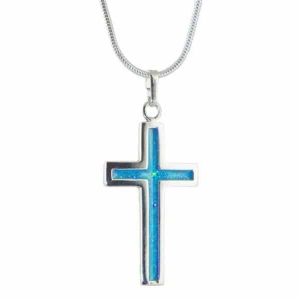 Eternity Crystallure Cross, 45cm snake chain