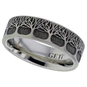 Tree of Life.  Titanium Ring, Laser Engraved.