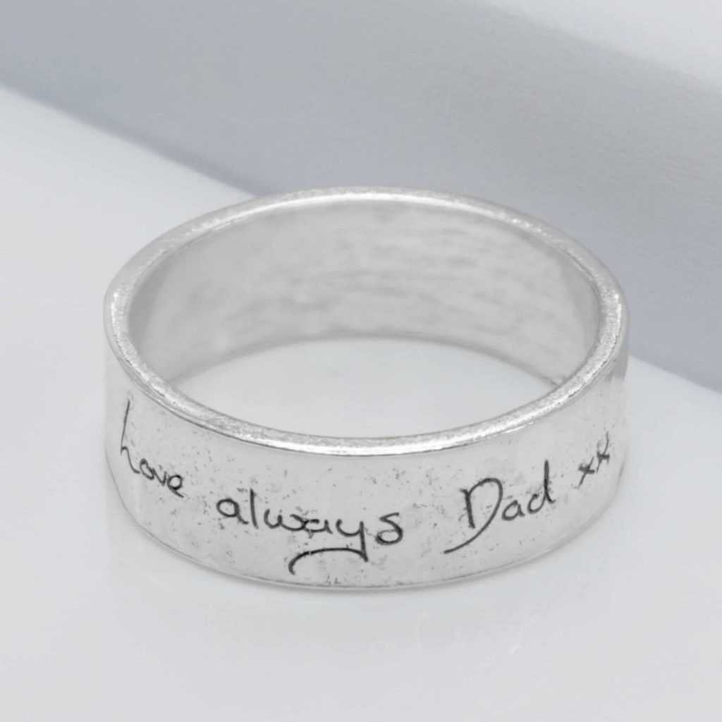 Silver Memorial Handwriting Ring with Ashes Imprint