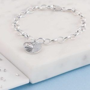 Memorial Belcher Chain Bracelet, Ashes Imprint Disc, Sterling Silver