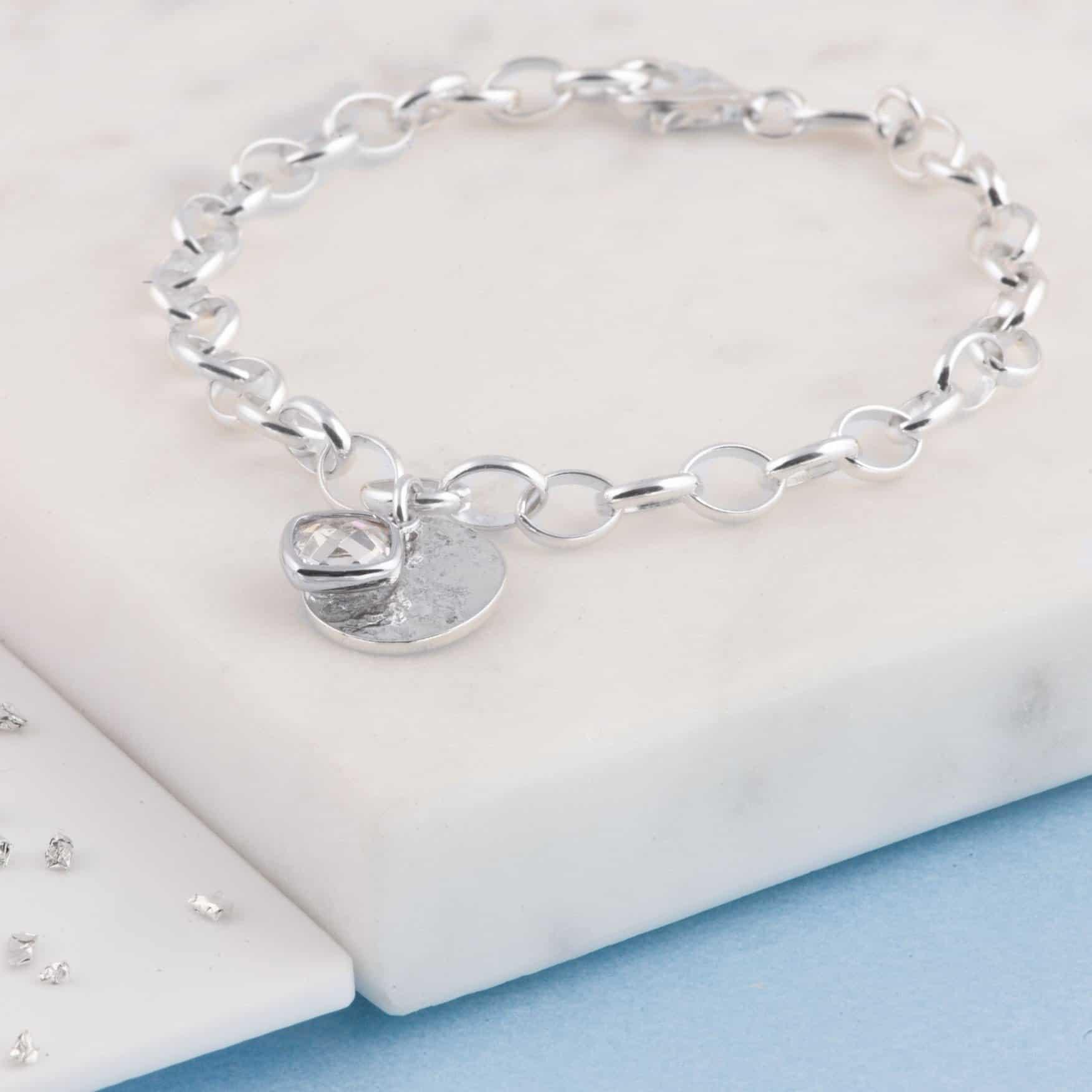 Memorial Belcher Chain Bracelet, Ashes Imprint Disc, Sterling Silver