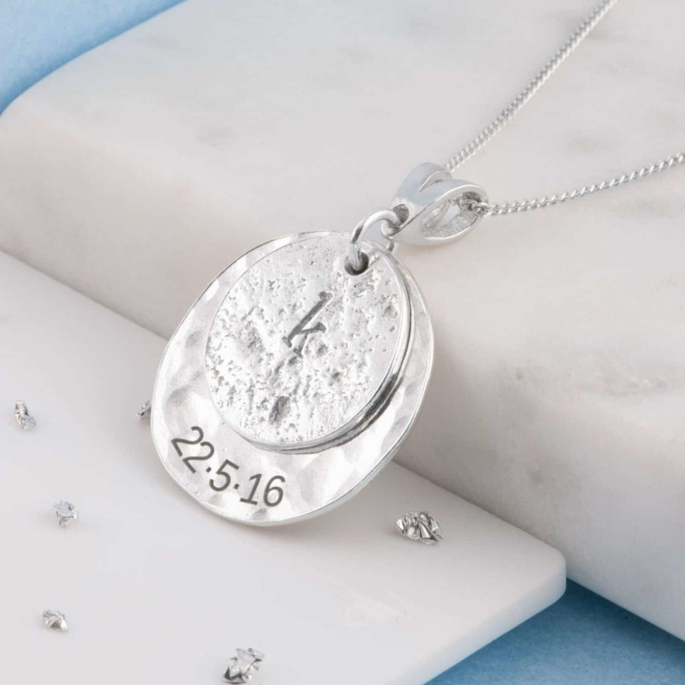 Memorial Pendant, Ashes-Imprint Initial Disc, Planished Sterling Silver