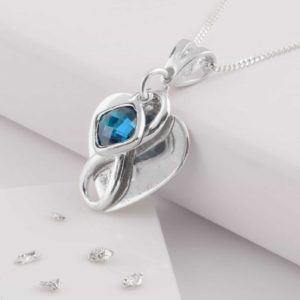 Silver Heart Memorial Birthstone Pendant with Ashes Imprint and Infinity Knot