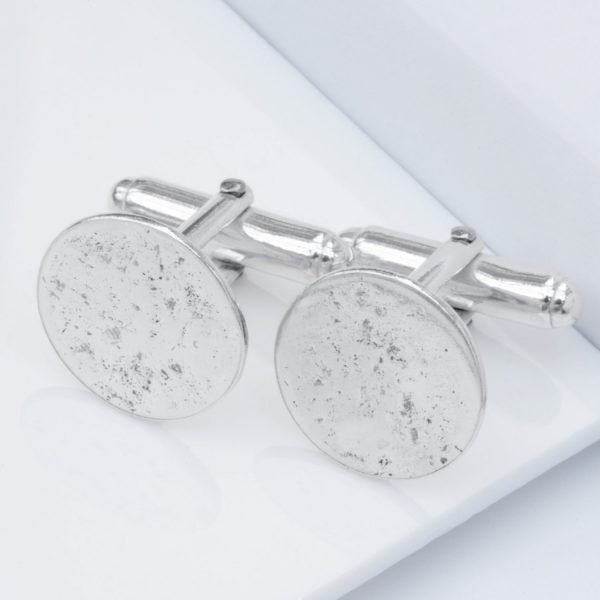 Silver Memorial Ashes Imprint Cufflinks, Circular.