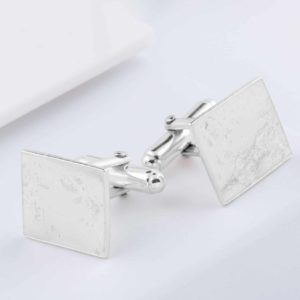 Silver Memorial Ashes Imprint Cufflinks, Square.