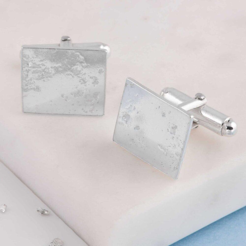 Silver Memorial Ashes Imprint Cufflinks, Square.