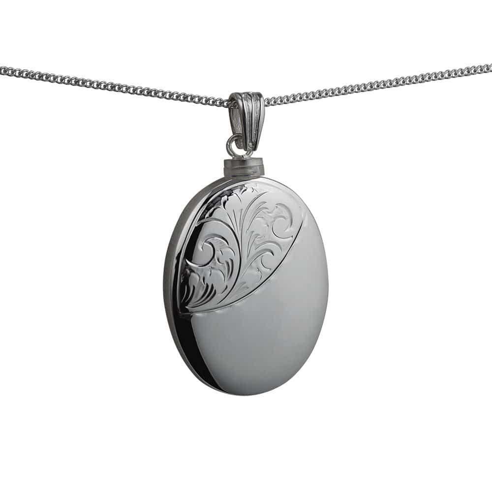 Silver Handmade Oval Hand Engraved Memorial Locket. 35x26mm