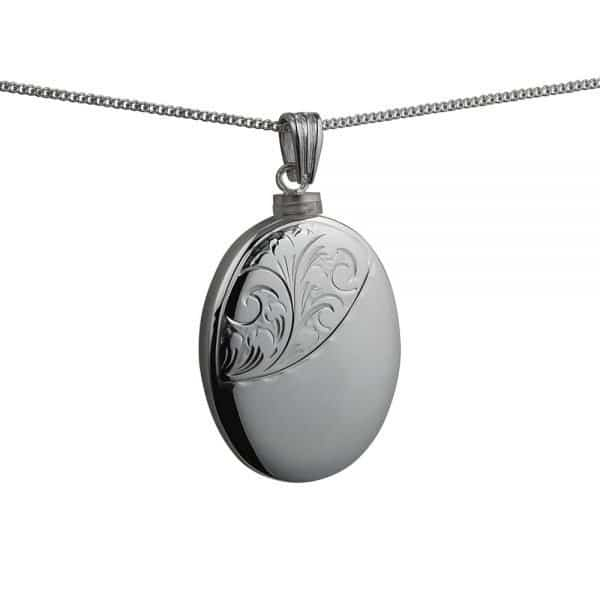 Silver Handmade Oval Hand Engraved Memorial Locket. 35x26mm