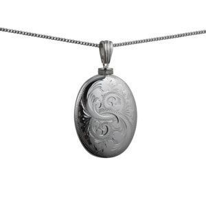 Silver Handmade Oval Full Hand Engraved Memorial Locket. 35x26mm