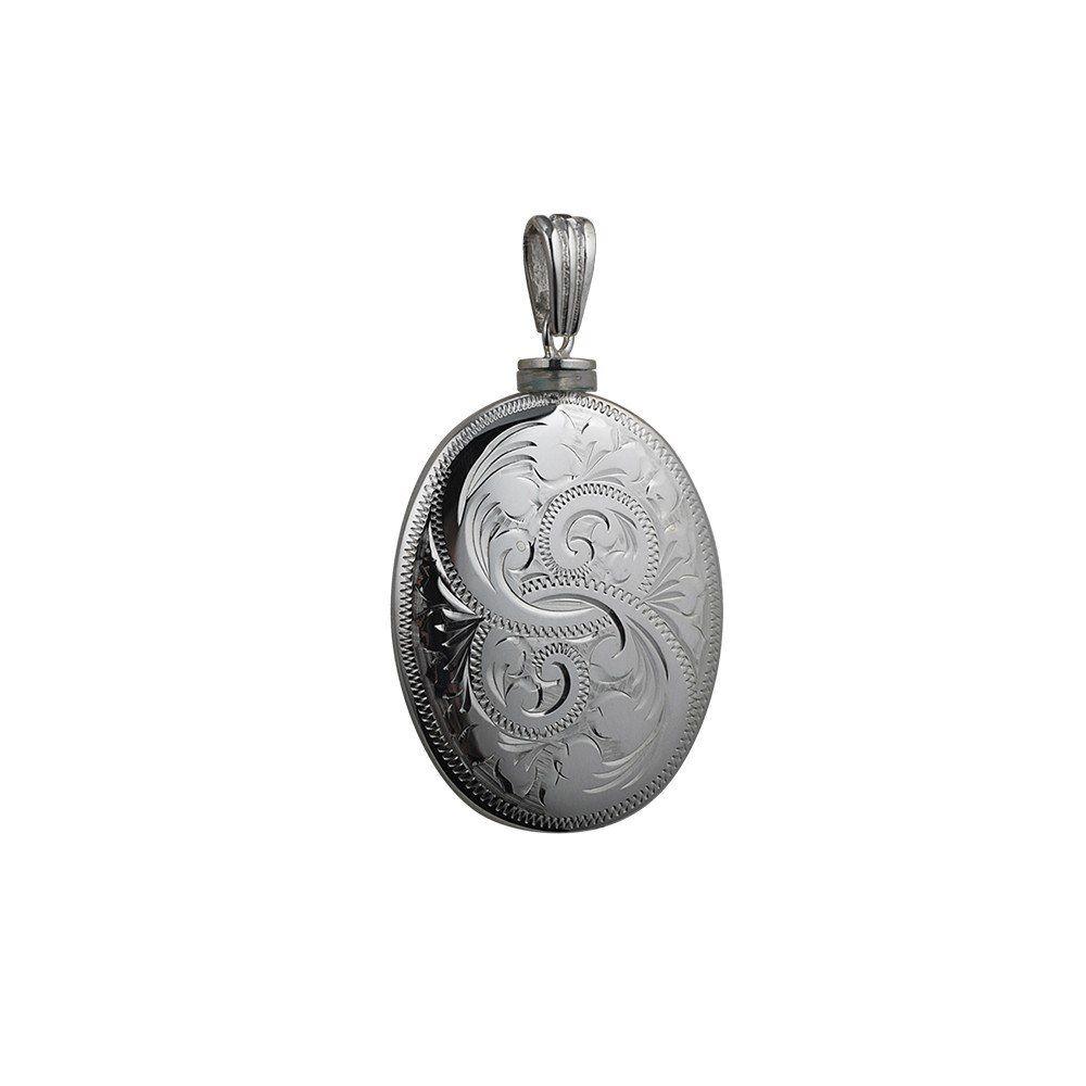 Silver Handmade Oval Full Hand Engraved Memorial Locket. 35x26mm