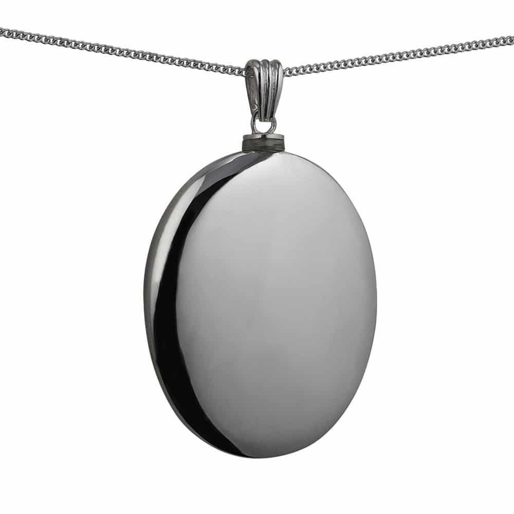 Silver Handmade Plain Oval Memorial Locket. 45x35mm