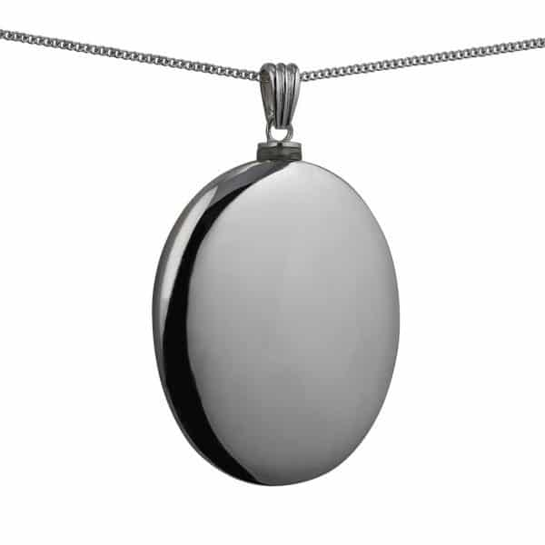 Silver Handmade Plain Oval Memorial Locket. 45x35mm