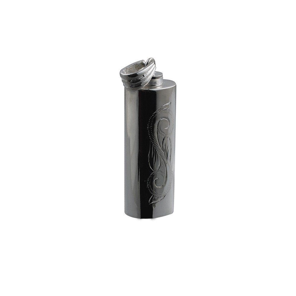 Silver Handmade Traditional Scroll Engraving Oval Memorial Cylinder. 33x13x10mm