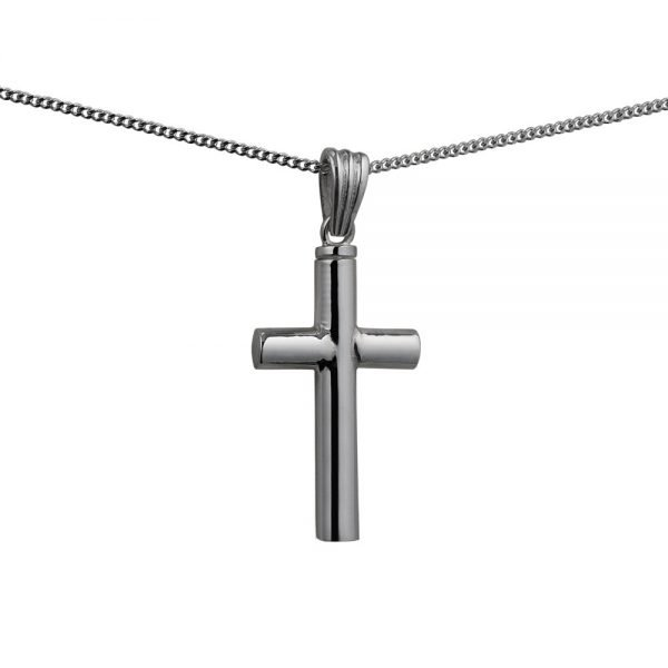 Silver Handmade Plain Memorial Cross. 32x18x4mm