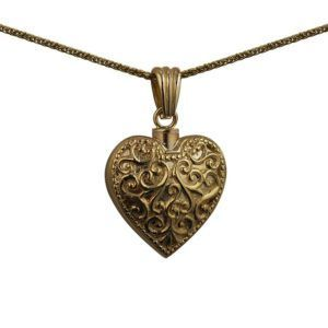 9ct Gold Handmade Embossed Heart Memorial Locket. 25x22mm