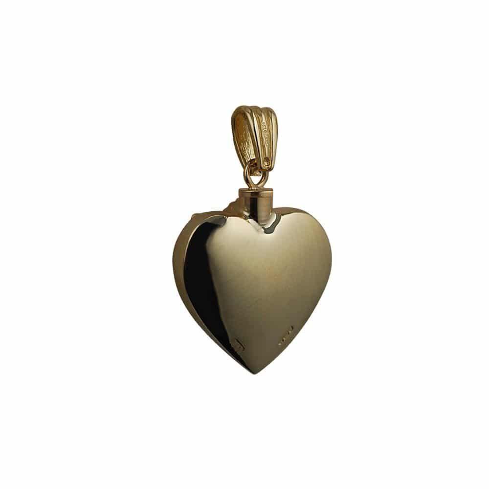 9ct Gold Handmade Embossed Angel Heart Memorial Locket. 25x22mm