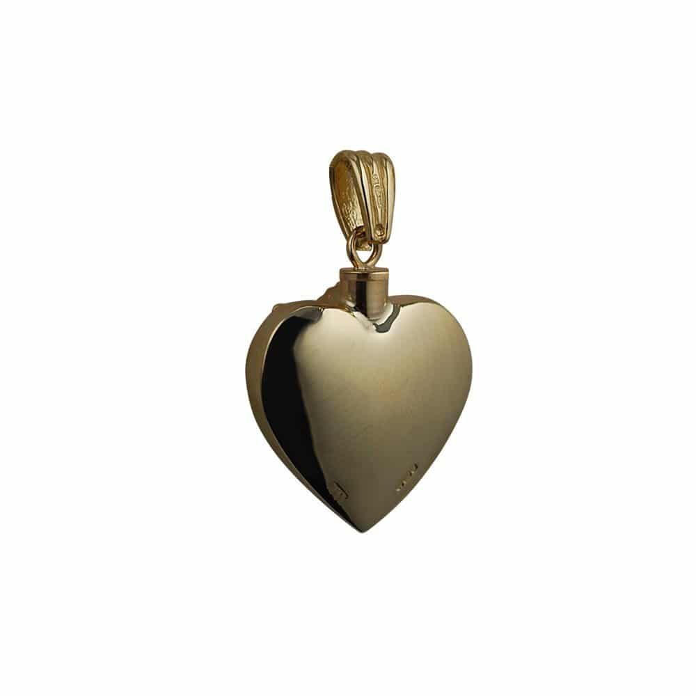 9ct Gold Handmade Embossed Angel Heart Memorial Locket. 25x22mm