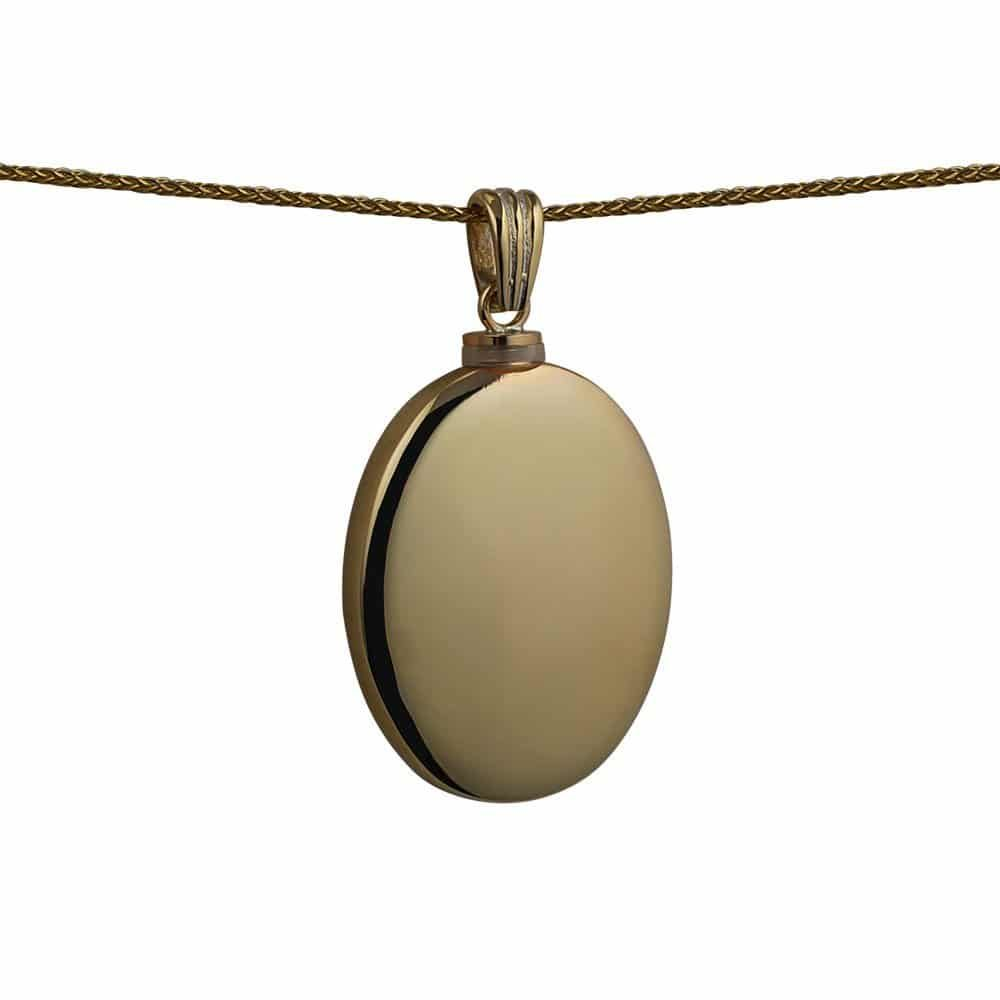 9ct Gold Handmade Plain Oval Memorial Locket. 35x26mm
