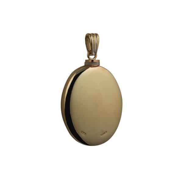 9ct Gold Handmade Plain Oval Memorial Locket. 35x26mm