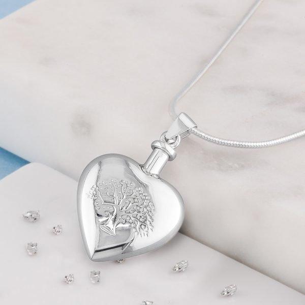 Tree Of Life, Heart Urn Pendant