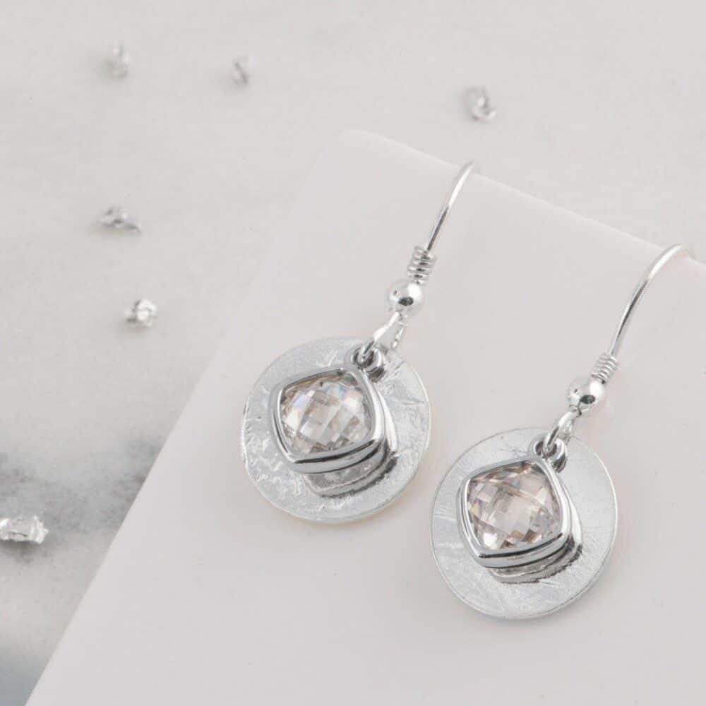 Ash Imprinted Silver Memorial Birthstone Drop Earrings