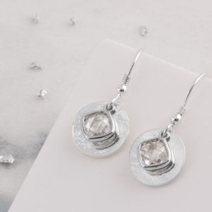 Ash Imprinted Silver Memorial Birthstone Drop Earrings
