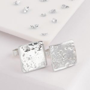 Ash or Hair Imprint Square Stud Earrings