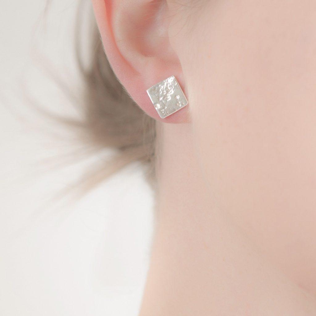 Ash or Hair Imprint Square Stud Earrings