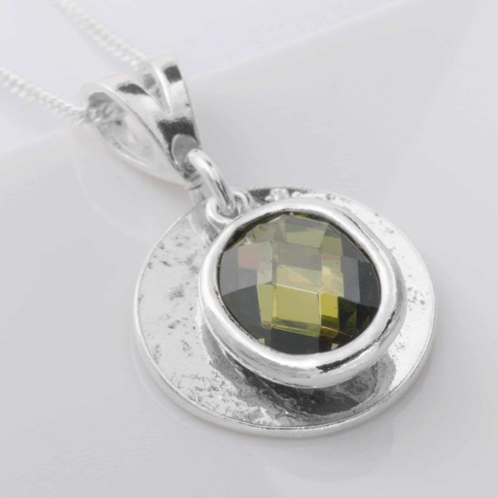 Ashes or Hair Small Round Memorial Birthstone Pendant