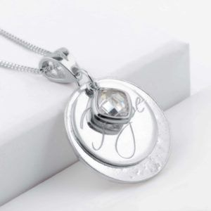 Ashes or Hair Memorial Hope Engraved Birthstone Pendant