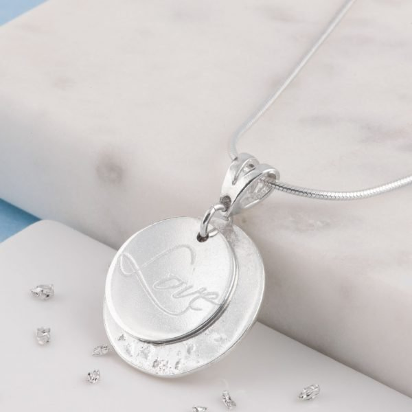 Ashes or Hair Imprinted Love Engraved Pendant