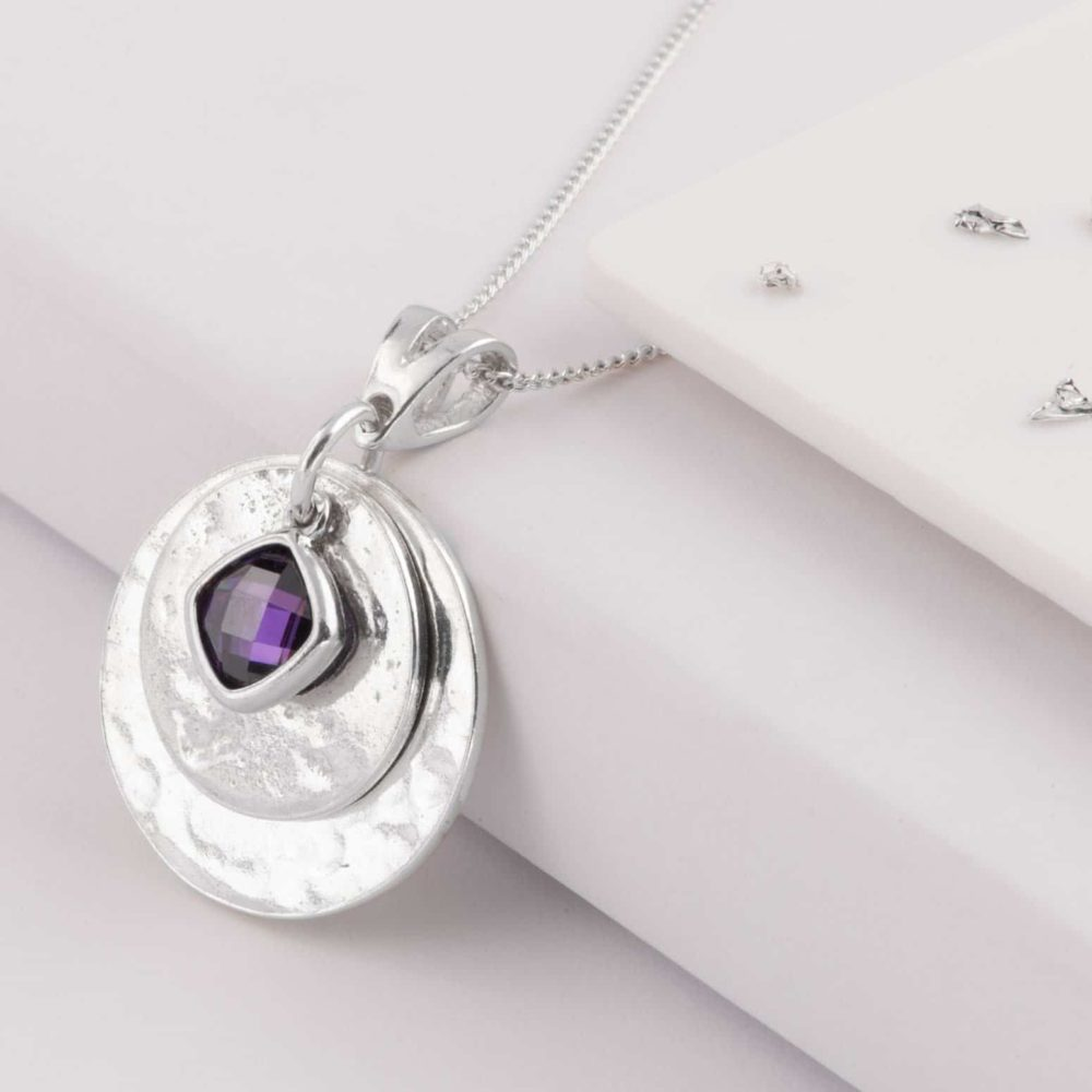 Ashes or Hair Imprinted Birthstone Pendant