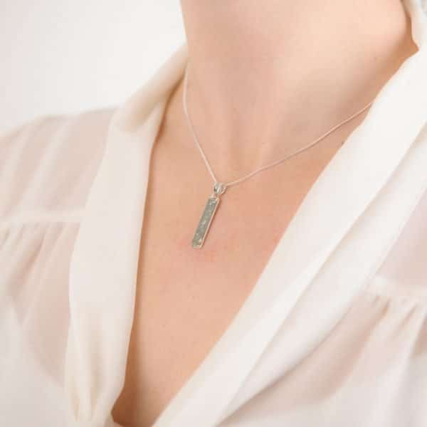 Ashes or Hair Imprinted Oblong Bar Pendant