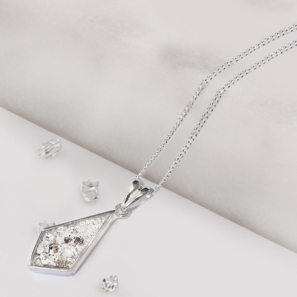 Sterling Silver Crystarosin Kite shaped Inlaid Memorial Pendant